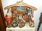 VINTAGE 13 PIECE LARGE BISQUE NATIVITY SET WITH LIGHTED  MUSICAL CRECHE MANGER