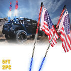 Xprite 2pcs Spiral LED Lighted Whip w Flagpole Antenna for Offroad Polaris RZR