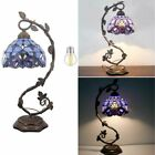 Stained Glass Reading Lamp Blue Purple Baroque Style Desk Table Light Bedroom