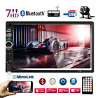 7 Double 2 DIN Car Stereo Radio MP5 Bluetooth Touch Screen + 4LED Backup Camera