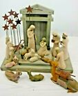 20 Piece Willow Tree Nativity 15 Figurines Creche and Metal Star Backdrop