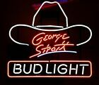 New Bud George Strait Hat Neon Light Sign Lamp 20x16 Beer Gift Bar Real Glass