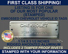 CHEVROLET SERIAL NUMBER ID TAG DATA VIN PLATE CHEVY STAMPED WITH YOUR INFO USA