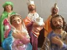 Large 10 PC Antique Chalkware Nativity Set Excellent Vintage Christmas NICE