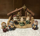 Dreamsicles Nativity 7 Pc Set Christmas Figurines 18 Karat Gold Accents Stable