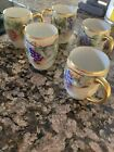 Vintage TV Limoges France Hand Painted Cups Set Of 5 Grapes Gold Rim handle