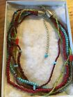 Vintage 6strand Multi Stone Native American unsigned Silver Necklace Estate Item