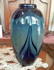 Randy Strong Outstanding Pulled Feather Iridescent Art Glass Hand Blown Vase