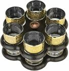 Gold Rimmed Shot Glasses with Stand Set 7 pc Versailles Greek Key Glassware