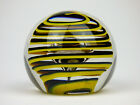 Liskeard Glass yellow  black spiral trail paperweight signed 1979 England