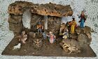 Vintage Christmas Nativity Large Creche Stable Manger Wood 11 Figures + Bagpiper