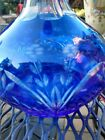 Antique Bohemian Art Glass Cut To Clear Cobalt Decanter