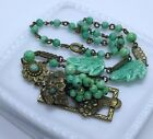 Gorgeous Vintage Czech Art Deco Nouveau Peking Glass Repousee Necklace NEIGER