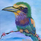Big Head Bird 8x8 Limited Edition Oil Painting Print Signed Art by Artist