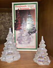 FENTON ART GLASS CLEAR FROSTED CARNIVAL IRIDESCENT CHRISTMAS TREE FIGURINES