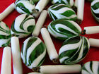 Vintage Green  White Swirl Candycane Art Glass Murano Double Strand Necklace