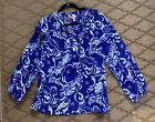 Lilly Pulitzer Size M 100 silk blouse blue white print Tide Pools top shirt