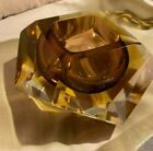 Murano SEGUSO VETRI Sommerso Glass Italy Faceted Amber Brown Bowl Rare