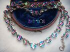 ART DECO RARE IRIS Open Back Bezel Set Paste Crystal Vintage RIVIERE NECKLACE