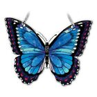 Amia BLUE MORPHO BUTTERFLY Painted Glass Butterfly Shaped Water Cut Suncatcher