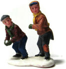 Lemax Village Figures Two Boys Throwing Snowballs In Snowball fight