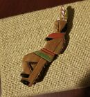 Vintage Native American Indian Chief Carved Wood Hand Painted Brooch Pin 1940s