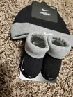 NIKE BABY BEANIE CAP HAT & CRIB SHOES BOOTIES 2PC. GIFT SET BLK/ GREY 0-6 M NWT