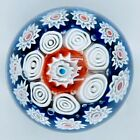 Vintage Millefiori Art Glass Paperweight Pattern blue white  red Pre owned