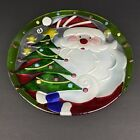 Fused Glass Multicolored Santa With Tree 13 Plate Christmas Holidays