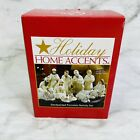 Holiday Home Accents 12 Piece Jade Porcelain Nativity Scene Gold Trim White