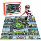 Diecast City Police Car Toy Set Play Mat Truck Carrier SWAT Helicopter Playset