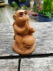 VINTAGE WOODEN CARVED MONKEY WITH GLASS EYES AND SIGNED NETSUKE
