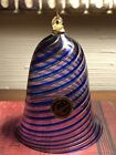 Vintage Italian Art Glass Murano Glass Bell Ornament Copper Blue Gold Swirls NWT