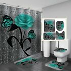3D Retro Butterfly Rose Waterproof Shower Curtain Toilet Lid Cover Bathroom Mat