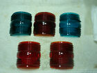 5 VINTAGE BLUE  RED GLASS LAMP LENS BOAT STARBOARD SHIP MARINE 31 2  x 3
