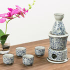 MyGift Ceramic White and Blue Flowers Japanese Sake Set with 4 Shot Glass Cups