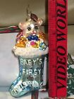 Radko BABY'S FIRST CHRISTMAS Glass Stocking Ornament
