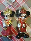 Disney Mickey Mouse Minnie Mouse Band Leader Glass Christmas Ornament Set of 2