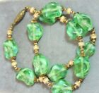 Vintage Venetian Murano Givre Hand Blown Glass Green Bead Choker Necklace Ce 43