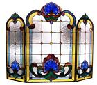 Stained Glass Chloe Lighting Victorian 3 Piece Folding Fireplace Screen 40 X 31