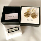Gucci Cruise 2020 Collection Aged Gold Finish Floral Motif w Crystal earrings