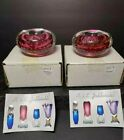 Pair of A Jablonski Art Glass Paperweight Candle Stick Holders Made In Poland