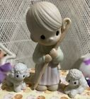Precious Moments Nativity Shepherd with Two White Lambs Sheep Regular Large Size