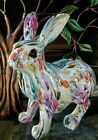 Standing Bunny Rabbit Spring Floral Decoupage Style Figurine Statue