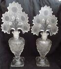 Pair 2 Imperial Glass Crystal Sunflower Perfume Bottle Irice Vintage 1940s