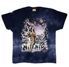 Vintage The Mountain Native American Woman Wolves  Snow T shirt 3XL Tie Dye