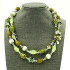 Vendome Crystal Art Glass Bead Necklace Enamel Caps Double Strand Signed VTG