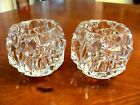 GORGEOUS TIFFANY  CO CRYSTAL 2 ROCK CUT VOTIVE CANDLE HOLDERS SIGNED EXC