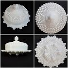 Westmoreland Milk Glass Hobnail 5 Footed Round Covered Cheese Butter Dish RARE