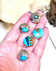 Five Native American Ornate Sterling Silver And Turquoise Inlay Button Covers